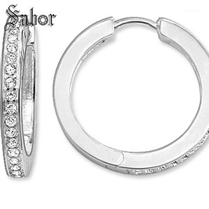 Charm Creole Large Hinged Hoop Earrings 2021 Zirconia Fashion Jewelry Party Geometric 925 Sterling Silver Gift For Women1