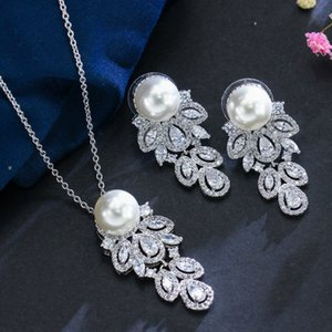high quality natural pearl diamond flower pendant lady's necklace earigns up-market 41xx