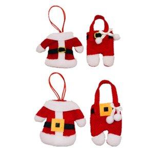 Noel Süsleri Çatal Çanta Hotel Restaurant Masa Süsleri Çatal Seti Hediye Çanta Noel Küçük Giyim Pantolon Çanta KKA1424