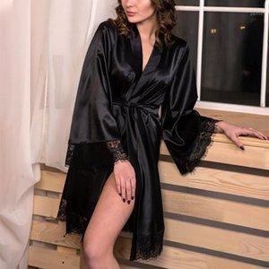 Женские сонные женские Сексуальная ночная одежда Plus Размер S-XL Silk Kimono Cover Babydoll кружевной женской бельё ремень халат S1