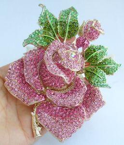 "Splendida 5.32"" Pink austriaco Crystal Rose Spilla Fiore Ciondolo Pin EE02994C12 201009"