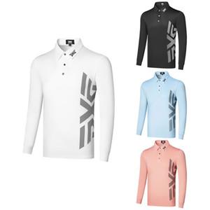 Nouveau Golf à manches longues T-shirt de sport Mode pour hommes Loisirs Polo mince Stretch Top Fitness manches longues hommes de tennis