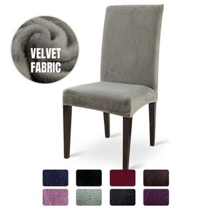4 6 8PCS Thick Plush Chair Cover Stretch Solid Chair Covers Elastic Slipcovers For Kitchen Weddings Banquet Hotel Pile