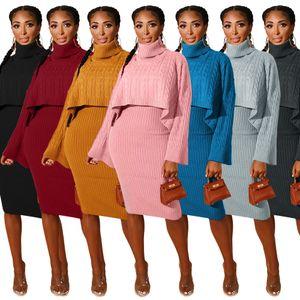 2020 New Fashion Women Two Piece Wool Dress High Collar Neck Long Sleeve Sweater Designer style Fall Winter Dress Clothing