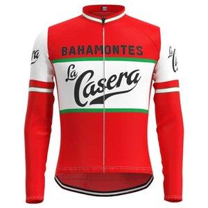 1973 경기 라 Casera 팀 남자 레트로 사이클링 저지 긴 소매 의류 트라이 애슬론 자전거 저지 아저씨