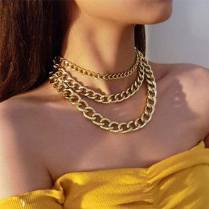Punk Cuban Aluminum Chunky Chain Necklace Multilayer Exaggerated Hip Hop Big Thick Link Choker Necklace Women Men Crazy Jewelry