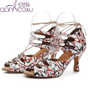 Moda Jazz Ballroom Latin Dance Shoes para bailarina Mujeres Plus Talla Strip Tango Waltz Latina Bombas Low Bombas Sandalias de verano