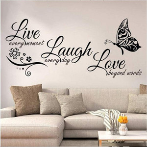 Live Laugh Love Wall Decal Art, 5PCS Vinyl Wall Decor Stickers Motivational Quotes for Bedroom, Removable Wall Mural DIY Home Decorations