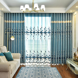 Chenille Semi-shading Stitching Curtain Fabric, Jacquard Embroidered Curtain, Finished Curtain for Living Room and Bedroom