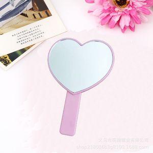 Dame compact miroir poignée coeur miroirs miroirs filles femmes muti couleurs maquillage de maquillage greffe de la forme unique cosmétique maison décor 2 4mx c2
