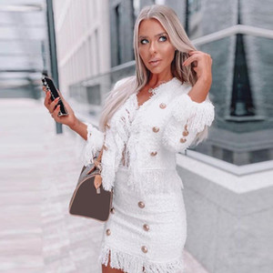 Adyce 2020 New Winter Women White Tassel Bandage 2 Two Pieces Sets Long Sleeve Coat& Skirt Button Club Party Casual Outwear Sets