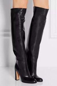 Moda otoño invierno mujeres de lujo de 10 cm de alto talones Negro Overknee alta del muslo botas de cuero Medias punk Chaussure Femme