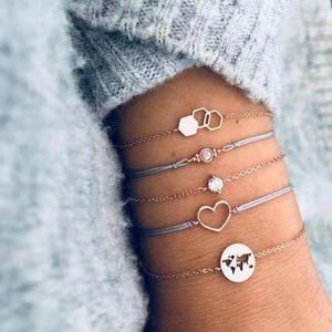 DAXI 5 PC / pulsera de oro de las mujeres Conjunto de Bohemia hueco Mapa Círculo de cristal del amor del corazón cadena de cuero geométrica personalidad de la joyería