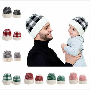 Parent-child Beanie Winter Warm Adult Kid Knitted Cap Outdoor Sports Knitting Plaid Woolen Hat Festive Party Hats 2pcs LJJP726
