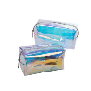Hot Sale Fashion Female Jelly TPU Transparent Beauty Laser Makeup Comestic Fashion Transparent Laser Travel Make Up Bag