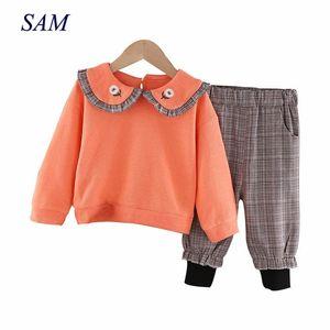 Girls autumn clothing sets baby girl princess clothes children's long sleeve tops+plaid pants 2 pcs suit 201015