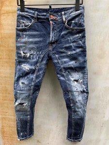 DSquaredDSQ2D2Mens Jeans Denim Jean Black Ripped Pants Pour Hommes Men S Italy Fashion Biker Motorcycle Rock Revival Jeans pE