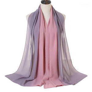 Fashion Lurex Ombre Bubble Chiffon Scarf Women Muslim Hijab Gradient Chiffon Scarves Stole Long Female Islam Bufanda 180*70cm1
