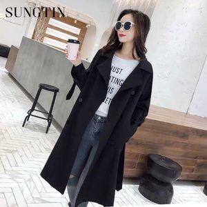 Sungtin Новой мода Женщина Длинного Желоб с поясом Lady Офис Coat Black Chic Double Breasted Trench Повседневной весна осенью Outwear