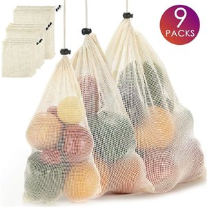 قابلة لإعادة الاستخدام شبكة صديقة للبيئة صفر النفايات حقائب الفاكهة القطن إنتاج حقيبة للتسوق تخزين Q1104