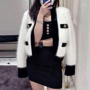 Cuello en V Mohair Sweater Abrigo Hit Color Border Border Hebillas de metal Faux Knit Cardigan Otoño Cashmere Cultivaciones Tops MUJER SÓETER1