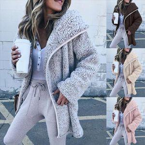 Womens coat Womens autumn jacket Fluffy Fur Lamb Plush Thick Solid Color Winter Pocket Lapel coat Elegant Overcoat 2020 new