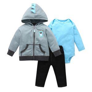 baby boy outfit autumn clothes long sleeve stripe hooded coat+bodysuit+pants newborn girl set new born clothing fashion 201113