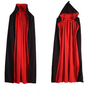 Vampire Cloak Cape Stand-up Collar Cap Red Black Reversible for Halloween Costume Themed Party Cosplay Men Women