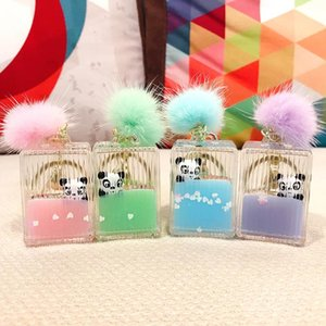 2020 New Floating cute panda fur ball keychain moving quicksand keychains women girl Bag Jewelry key ring Car pendant gifts