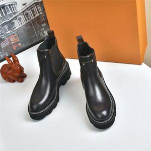 2021 Diseñador de moda Beaubourg Lady Shoes Botas de invierno Niñas Seda Cuero de Cuero Cuero Alto Top Top Botas de tobillo Plano Tamaño 35-41