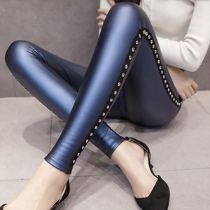 Winter Velvet Warmth Women Pants Pu Leather Leggings Women Fashion Rivets Pencil Pants S xxl Ladies Skinny Z0002 40