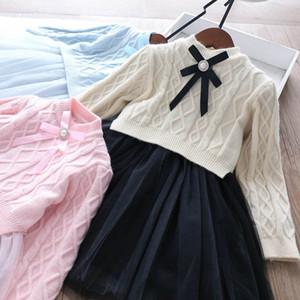 3Color fashion girls suits Boutique girls outfits autumn winter sweater+long sleeve Tutu girls dresses 2pcs set princess sets B2387