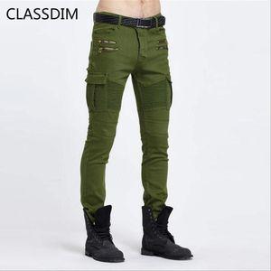 ClassDim Skinny Jeans Männer Moto Biker Stil Jeanshose Hohe Qualität Männer ArmeeGreen Slim Denim Jeans Elastic1