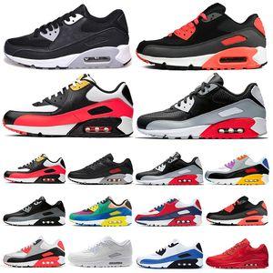 2021 남자 운동화 신발 고전적인 90 남자와 여자 운동화 운동 트레이너 쿠션 표면 통기성 스포츠 신발 36-45