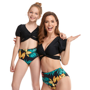 Parent-child Swimwear Puff Sleeve Tassel Covering Belly Split Bikini Vest Style High Waist Mesh Adult Children's Swim wear