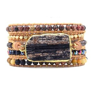 Native Inspired Designer Leather Bracelet Black TourmalineTour Mix 5 Strands Woven Wrap Bracelets Bohemian Bracelet Dropship