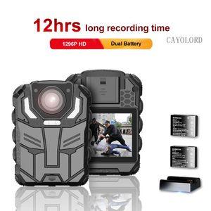 1296P UHD الجسم كاميرا 2 بوصة عرض، للرؤية الليلية، وثنائي بطارية الجسم كاميرا البالية مع شاحن قفص الاتهام،