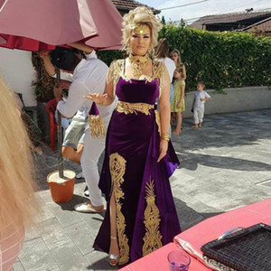 Caftan Evening Dress with Detachable Train High Neck Gold Appliques Morocco Kaftan Velvet Mermaid Arabic Muslim Prom Party Dress