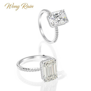 Wong lluvia Classic 100% 925 plata esterlina 8 * 11 mm Creado Moissanite de la piedra preciosa de la boda del anillo de compromiso fina joyería al por mayor 201113