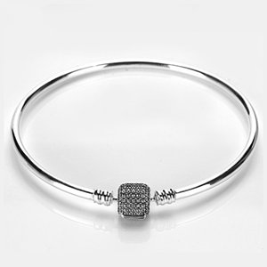 Moments Sparkling Pave Bangle Bracelet Sets Original Box for Pandora 925 Sterling Silver Charm Bracelets Women Luxury Gift Jewelry