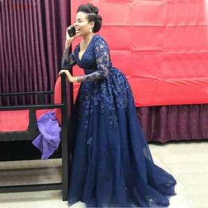 Elegant Navy Blue Long Evening Dress Plus Size Long Sleeve Lace Prom Dresses Sexy V Neck Nigeria African Formal Dress Cheap