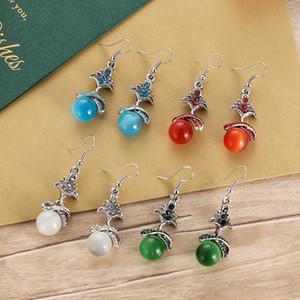 Korean version of the new small tree diamond opal earrings female European and American retro ethnic short earrings