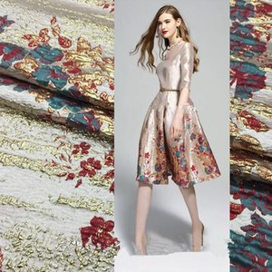 "SASKIA 120cm Lot Position Brocade Jacquard Fabrics Yarn Dye Metallic Flower Fabric For Dress Clothing Sewing Red Patchwork 55"" W1"
