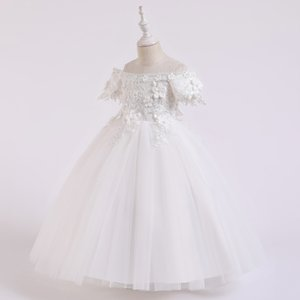 2020 New Children's clothing girl dresses one shoulder flower girl wedding dress lace dress white 110-160cm