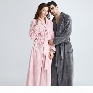 Extra Long Plus Size Winter Warm Coral Fleece Bathrobe Women Men Flannel Dobby Kimono Bath Robe Bridesmaid Dressing Gown Wedding C18110301