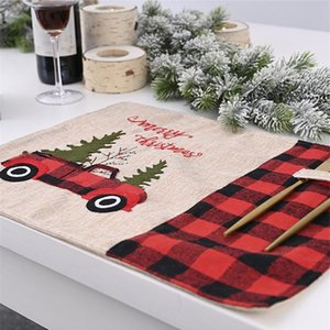 Winter Buffalo Plaid Placemat Dining Red Truck Placemats Table Mat Home Xmas Decoration 2020 Christmas Tree