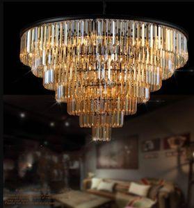 Chandelier de cristal de lujo moderno elegante K9 Crystal Smoky Gray Crystal Suspension Lamparas para Cafe Restaurant Hotel