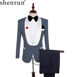 Shenrun Männer Smoking Slim Fit koreanische Klein Anzüge Mode-Muster-Hochzeit Bräutigam Partei-Abschlussball Bühne Kostüme Singers dünne Smokings
