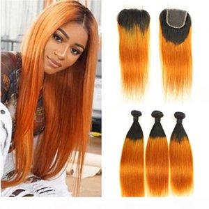 Оранжевый омбр бразильский человеческие волосы 3 пачков с закрытием прямые # 1b оранжевый омбре девственница волосы ткать ткать темные корни у ветков темные корни с закрытием кружева 4x4