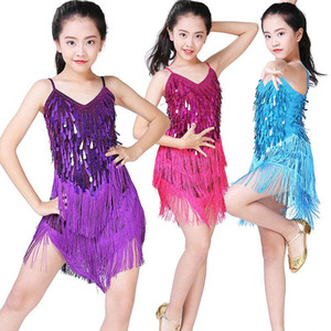 Children Latin Dance Dress Girls Ballroom Dance Competition Dresses Kids Salsa  Tango   Cha Cha Rumba Stage Performance Outfits